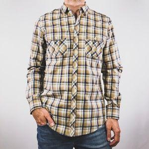 Ben Sherman Brown Blue Utility Check Plaid Shirt S